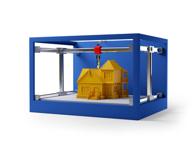 3d printing of house. Schematic 3d illustration.