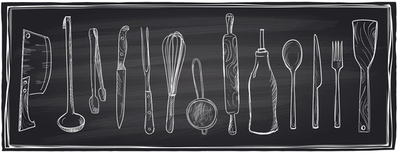 Hand drawn set of kitchen utensils on a chalkboard.