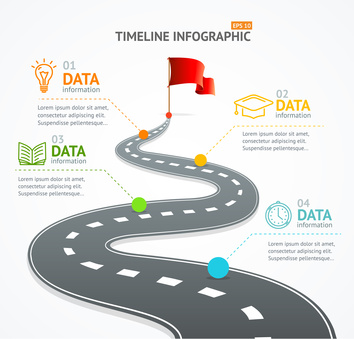 Infographic Timeline and Road with Pointer. Vector